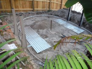 Semi Above Ground Pool - Oval layout, supports and pressure panels