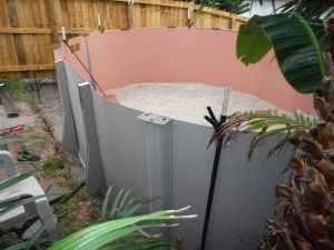 Semi Above Ground Pool - Wall installation and sand floor